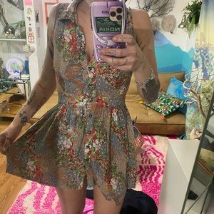 Sexy floral cut out mini sun dress button up